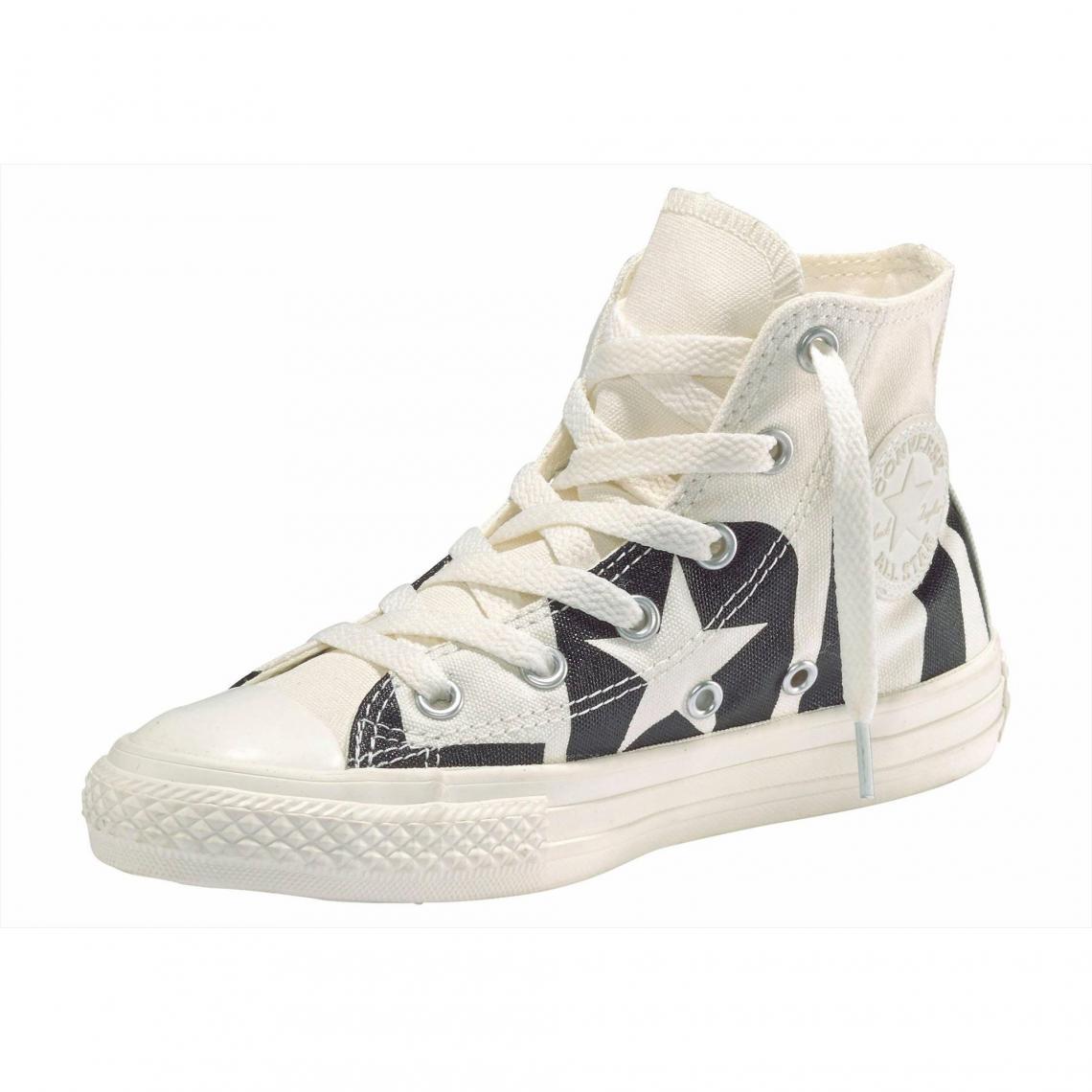 77bda2f4002 Baskets montantes imprimées junior Converse Chuck Taylor All Star Hi Youth  - Blanc - Noir Converse