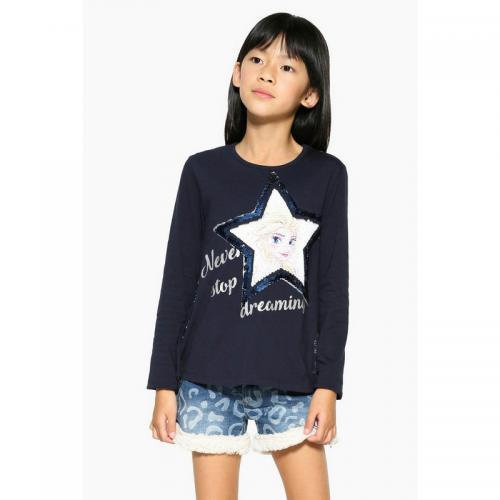 0a32974ff0fe4 Desigual - Tee-shirt manches longues La Reine des Neiges fille Desigual -  Bleu -