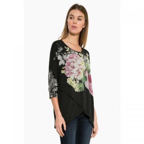 8631cb8019c5 Desigual - T-shirt fluide col rond manches 3 4 imprimé floral femme Desigual
