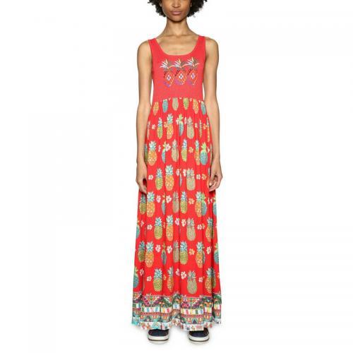 Desigual - Robe longue bi-matière femme Desigual - Rouge - Desigual de38798fb25
