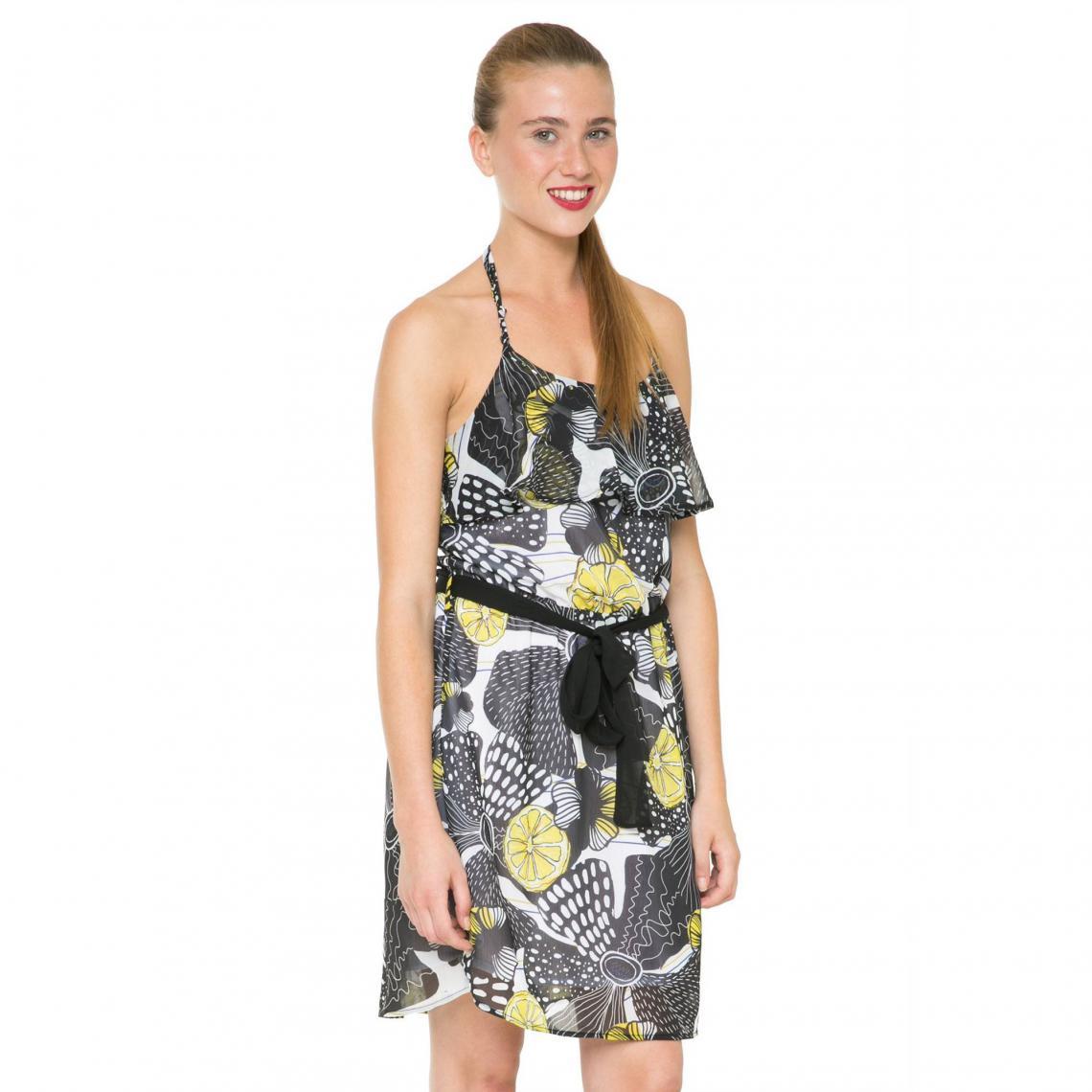 546e34141d49af Robe dos-nu en voile imprimé fantaisie femme Desigual - Noir | 3 SUISSES