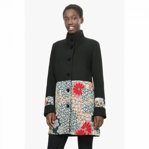 Desigual - Doudoune longue à col fourrure imprimé floral femme Desigual -  Noir - Doudounes femme 8c5b79accba