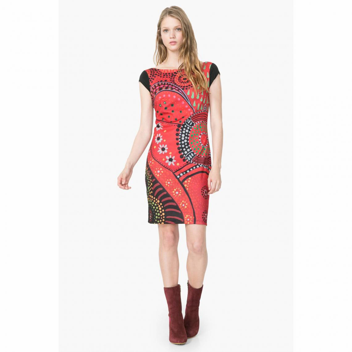 f3119c8472b Robe manches courtes imprimé multicolore femme Desigual - Rouge Desigual  Femme