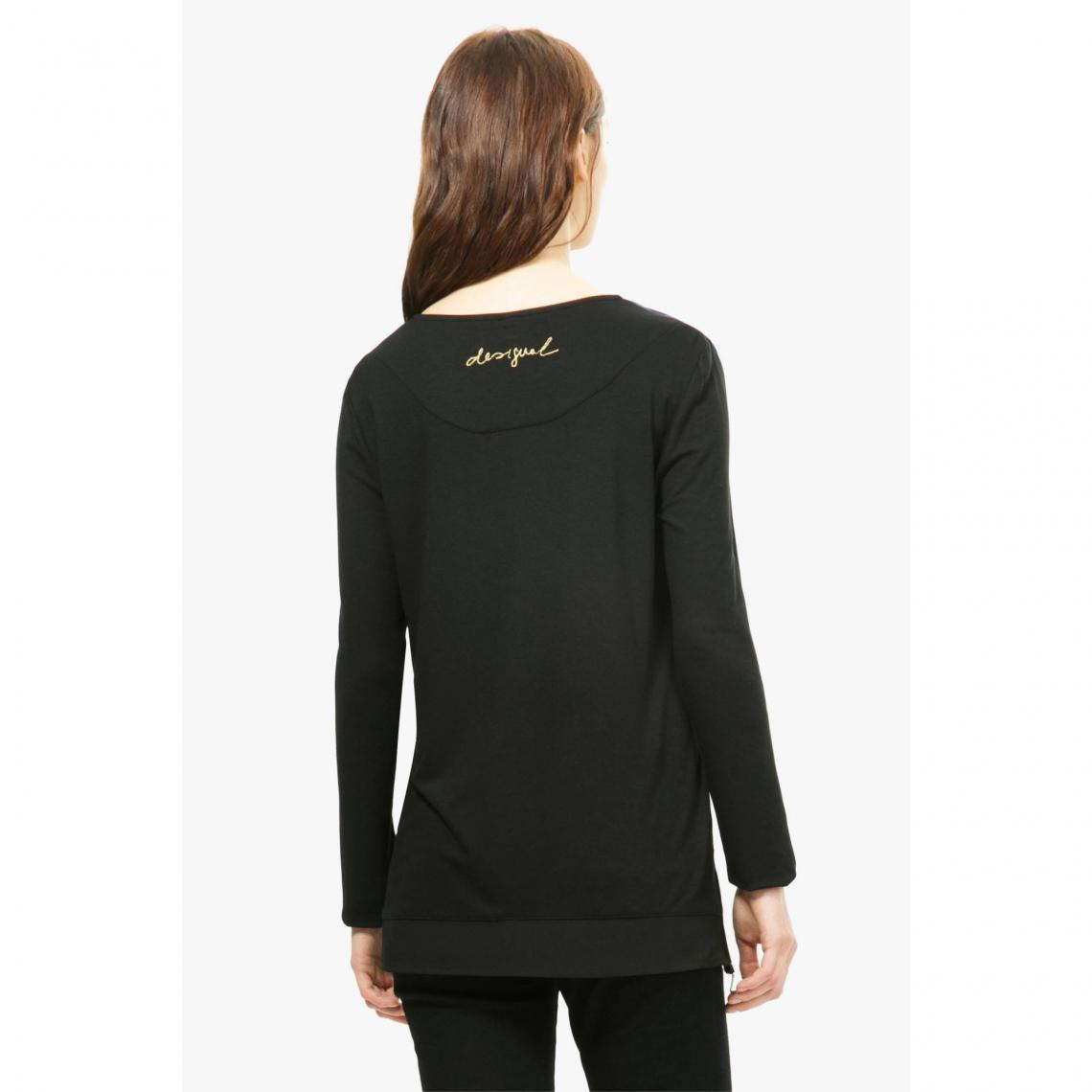 5224686476aca T-shirt tunique manches longues bimatière imprimé fleurs femme ...
