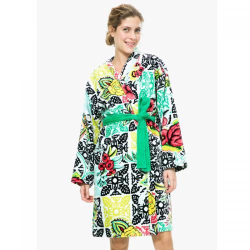 1bd9487d75 Desigual - Peig coton velours 380 grm² imprimé B&W Luxury femme Desigual -  Multicolore - Peignoirs