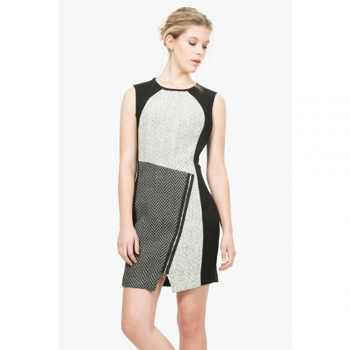 b1bbcaef07afa Robe imprimée patchwork femme Oceano Desigual - Blanc - Noir Desigual Femme