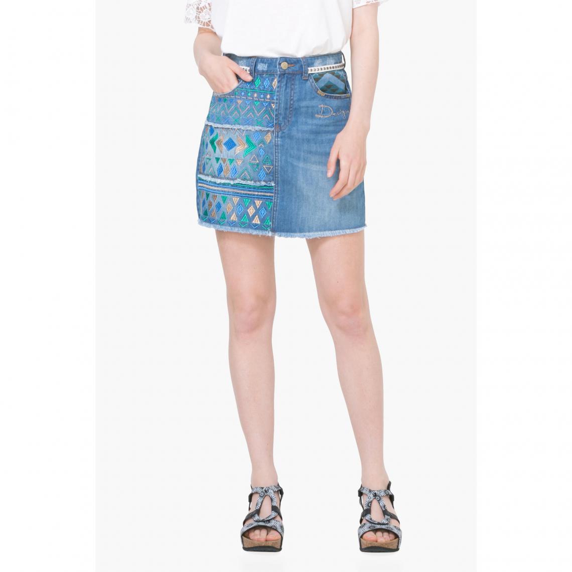 dacd4a14e Jupe courte jean femme Desigual - Bleu | 3 SUISSES