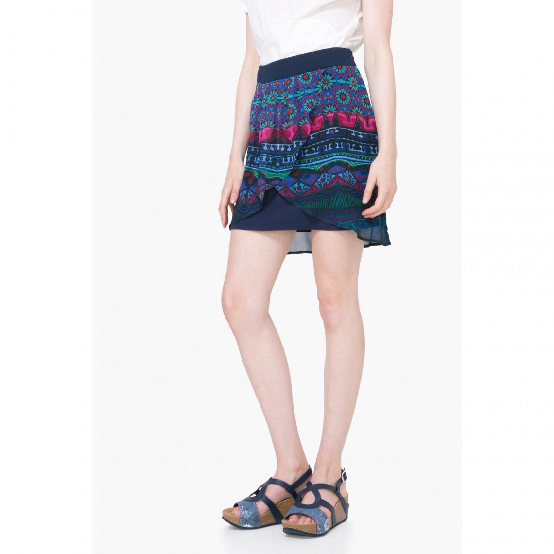 742b7d714cdc Jupe courte voile portefeuille femme Desigual - Multicolore Desigual Femme