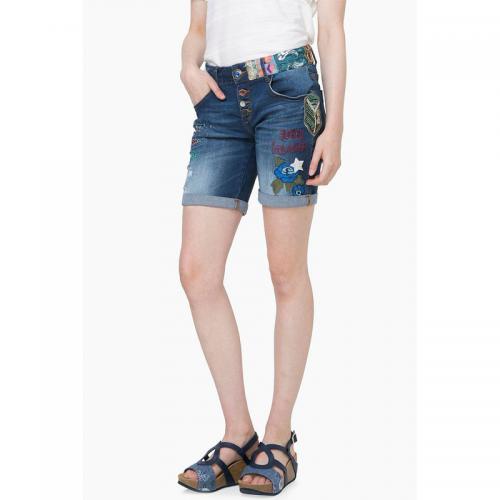 b9d7396d388d Desigual - Short jean broderies perles femme Desigual - Bleu - Shorts,  bermudas femme