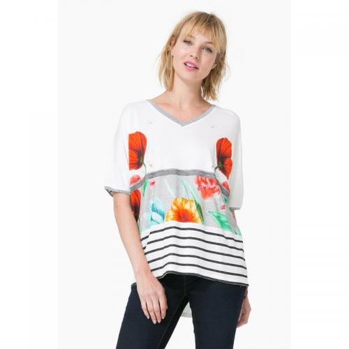 Desigual - Tee-shirt col V manches courtes ample femme Desigual - Multicolore - Promos Femme
