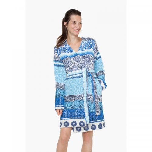 6035f71339605a Desigual - Peig coton velours 380 grm² femme imprimé Exotic Jean Desigual -  Bleu - Peignoirs