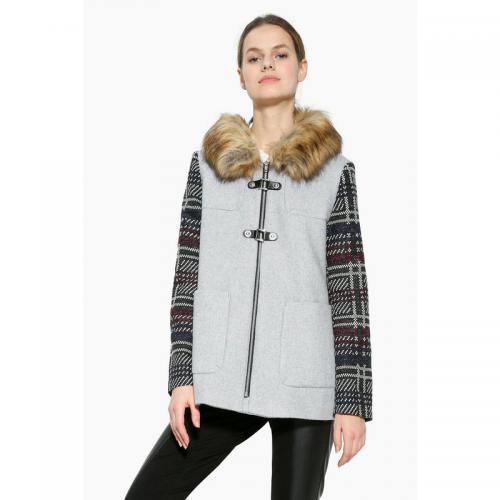 Desigual - Manteau duffle-coat capuche avec fourrure femme Desigual - Gris  - Manteaux pour e785cf797db