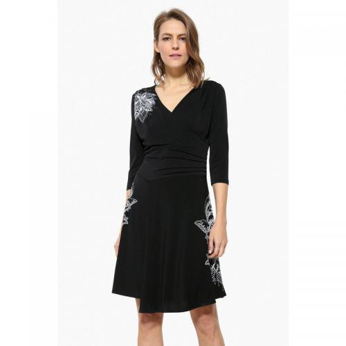 Desigual Robe Évasée Cœur Noir Décolleté Femme Cache mPNny80wvO