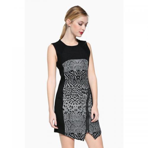 Desigual - Robe courte col rond manches courtes zippée femme Desigual - Noir  - Robe desigual 7457522fb625