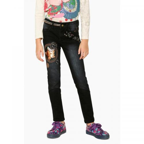 7b099fbf10b6 Desigual - Jean slim fantaisie motifs à sequins réversibles fille Desigual  - Noir - Jeans fille
