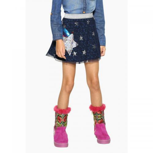 5fe98b0b9f20ad Jupe imprimé avec motifs à sequins réversibles fille Desigual - Bleu Marine