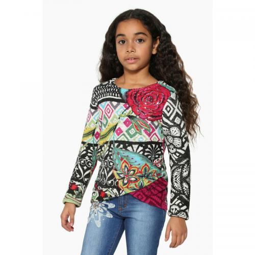 Pull fantaisie col rond manches longues fille Desigual - Noir