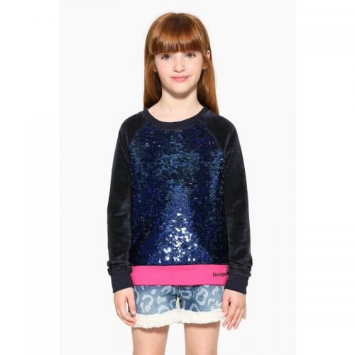 Desigual - Sweat-shirt sequins réversibles fille Desigual - Bleu Marine - Vêtements fille