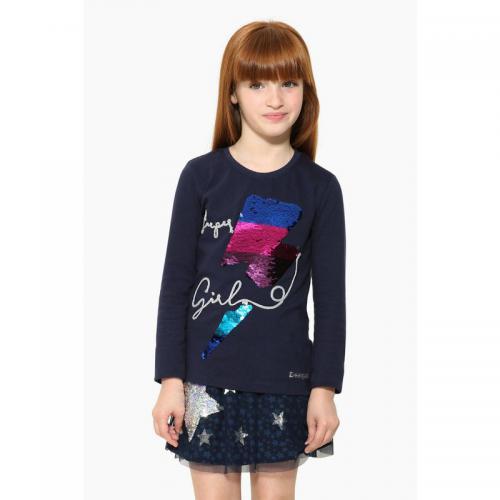 bb5b16e2957be Desigual - Tee-shirt manches longues motif réversible en sequins fille  Desigual - Bleu Marine