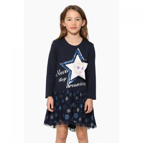 5aaa555f30537 Desigual - Robe courte manches longues fille Desigual - Bleu - Enfant