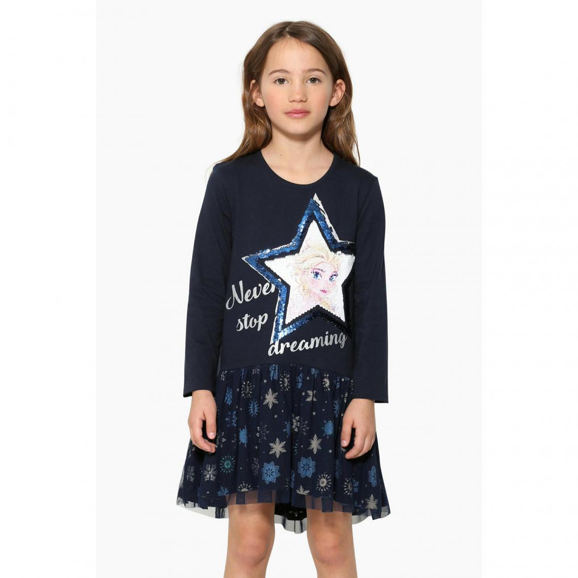 56c8ca8024945 Robe courte manches longues fille Desigual - Bleu Desigual Enfant