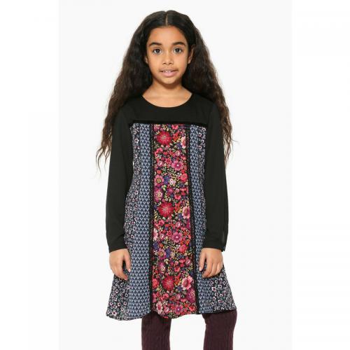 9385db93a5768 Desigual - Robe courte manches longues fantaisie fille Desigual - Noir -  Vetements De Ceremonie Enfant
