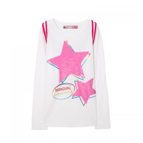 f4ff7aab13b454 Tee-shirt manches longues motif réversible en sequins + sac fille Desigual  -(...)