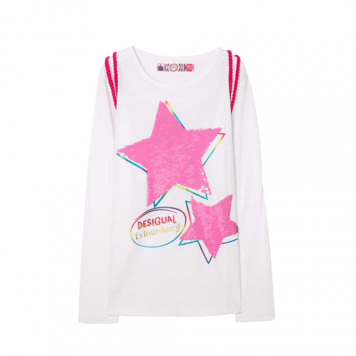80b7718c9873a Tee-shirt manches longues motif réversible en sequins + sac fille Desigual  - Blanc Desigual