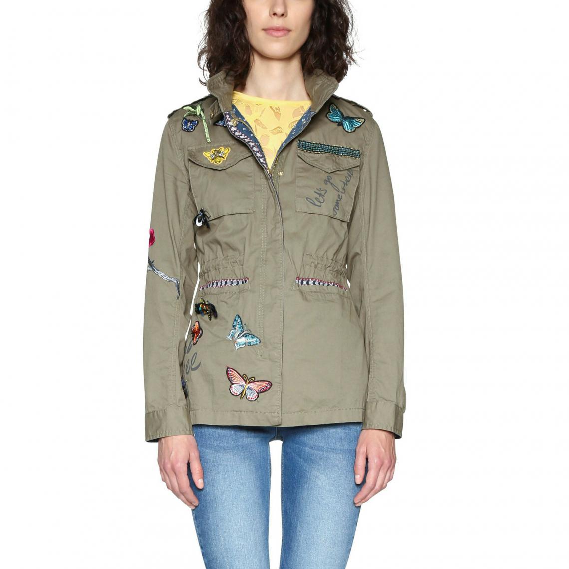 Veste cargo façon militaire femme Desigual - Kaki Desigual Femme a34f6aa65331