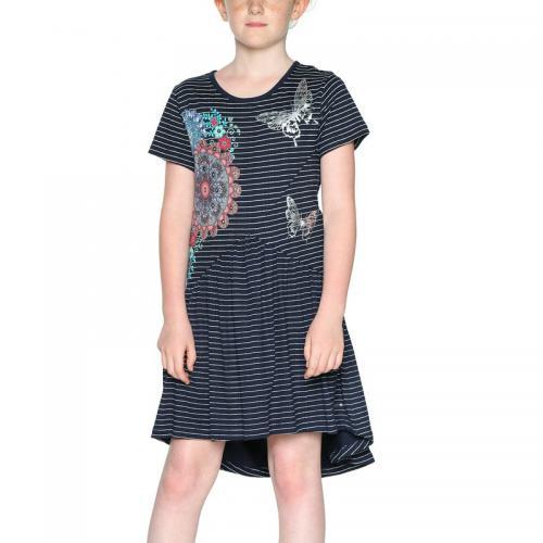 46273df6992 Desigual - Robe courte rayée fille Desigual - Bleu Marine - Robe