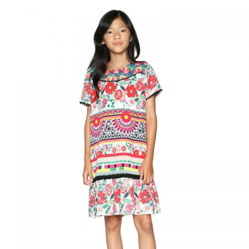 f5bff50b95e96 Desigual - Robe imprimée manches courtes fille Desigual - Rose - Robe