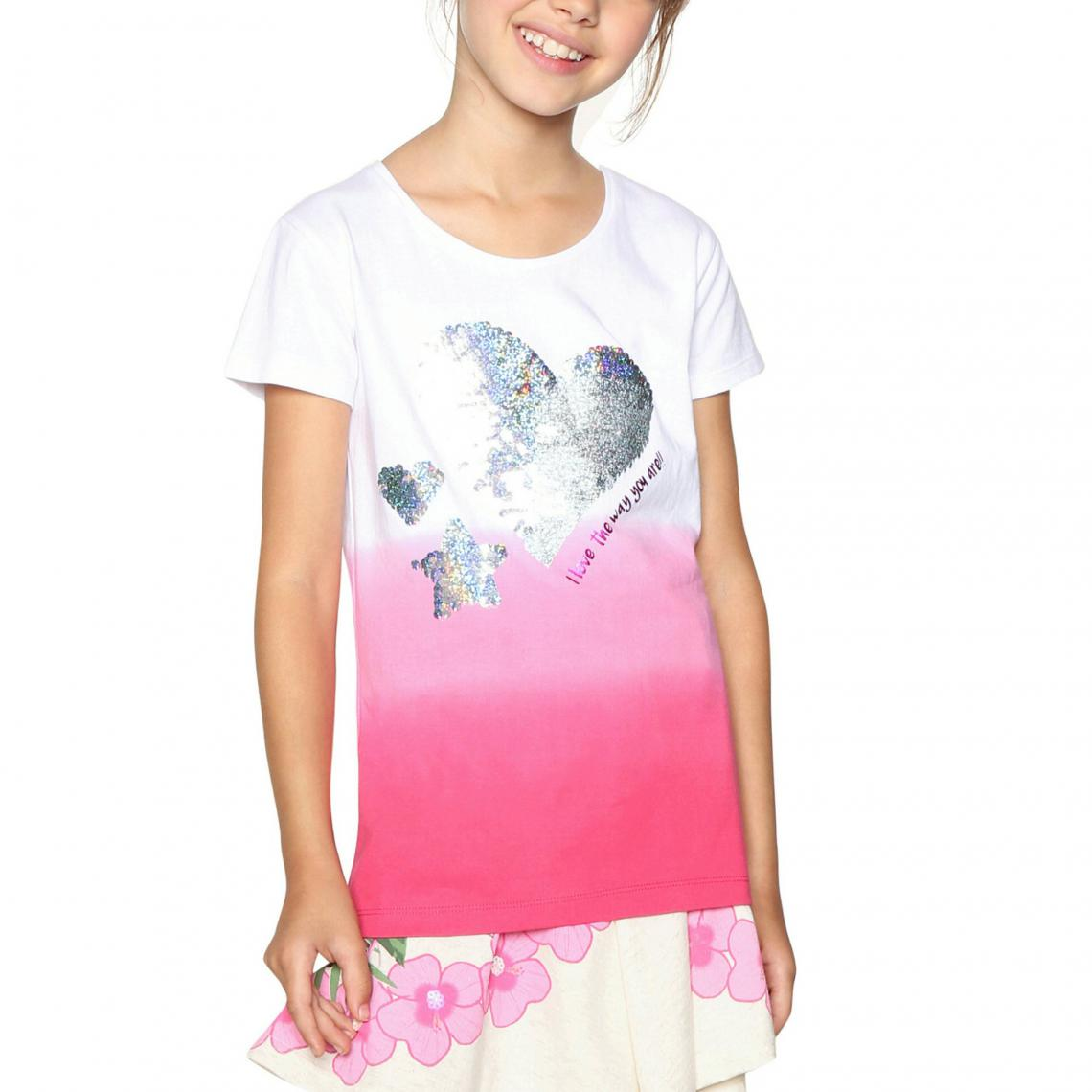 9ffa7f26d53ad Tee-shirt manches courtes fille Desigual - Rose Desigual Enfant