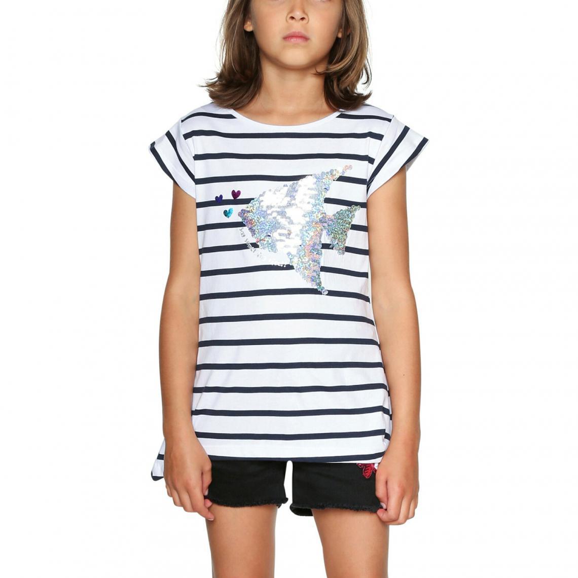 Tee-shirt rayé manches courtes fille Desigual