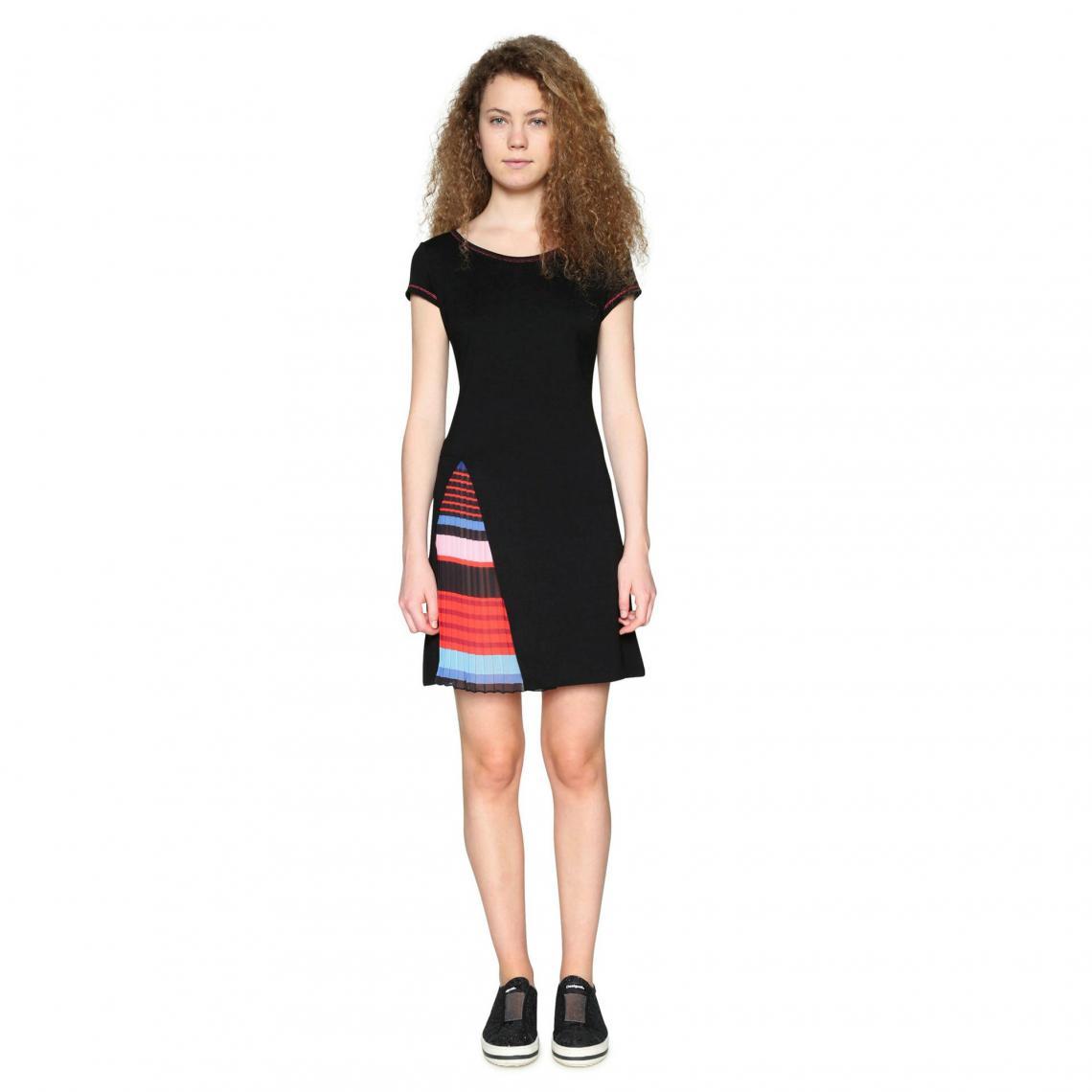 Robe courte doublure fantaisie rayée femme Desigual - Noir - 3Suisses
