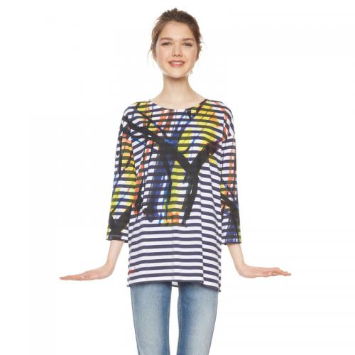 Desigual - Tee-shirt rayée manches 3/4 femme Desigual - Multicolore - Promos Femme
