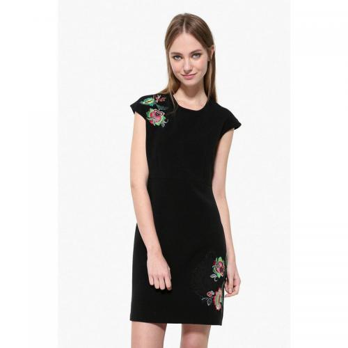 Desigual - Robe courte col rond sans manches broderie florale femme Desigual  - Noir - Robe 1f2f0e098724