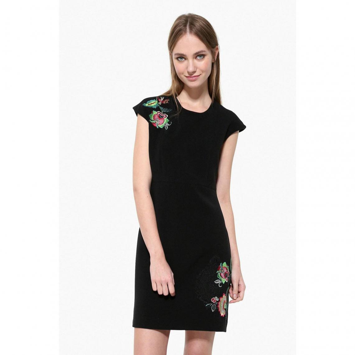 Robe courte col rond sans manche broderie florale femme Desigual - Noir - 3Suisses