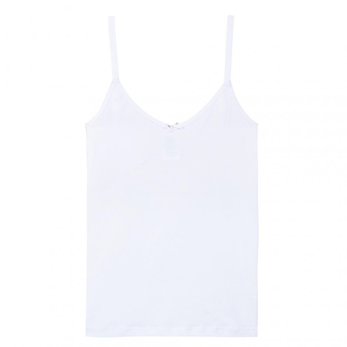 3433017e70615 Débardeur fines bretelles Pocket Basic fille DIM - Blanc | 3 SUISSES