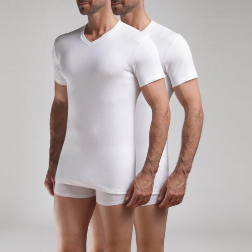 a8bc5a6589737 Dim - Lot de 2 t-shirts col V Ecodim Dim - Blanc - Dim