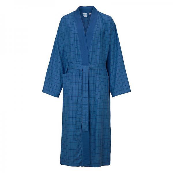 c64921919a089 Peig de bain long à carreaux col kimono en éponge homme Ecorepublic Home -  Bleu