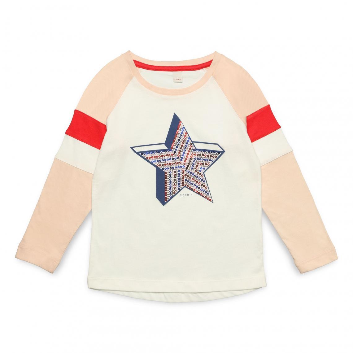 3ad962d5a2f27 Tee-shirt manches longues fille Esprit - écru Esprit Enfant