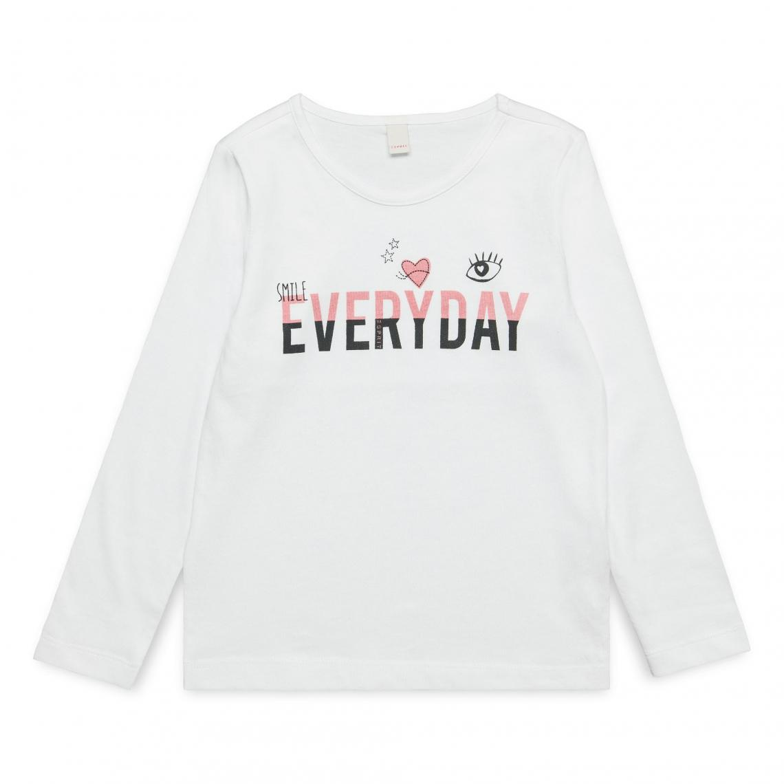 034024d7d80f5 Tee-shirt manches longues Fille Esprit - Blanc Esprit Enfant