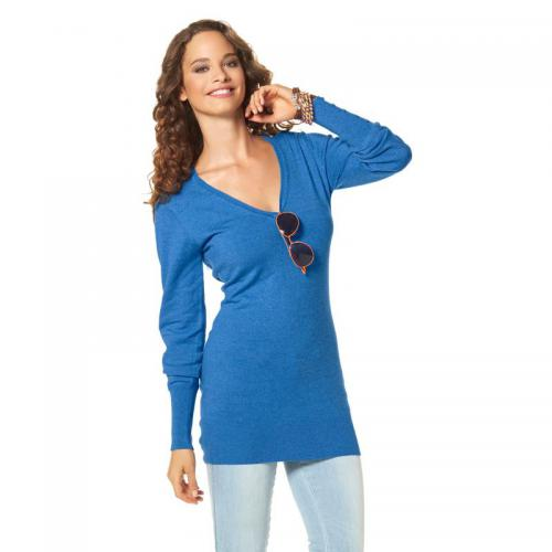 Flashlights - Pull long manches longues col V femme Flashlights - Bleu - Promos Femme