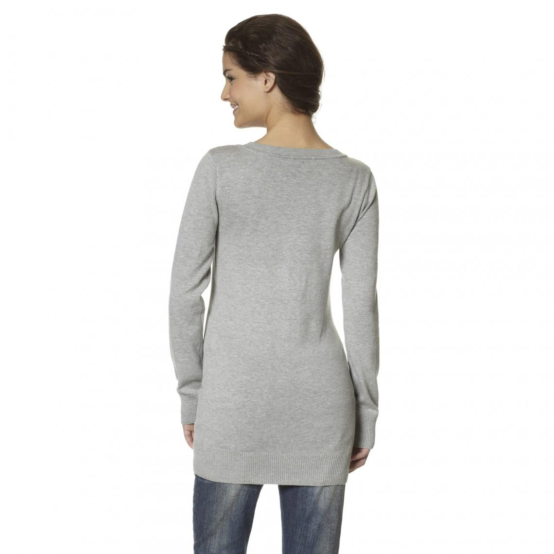 9c529143306b Pull manches longues col rond femme Flashlights - Gris