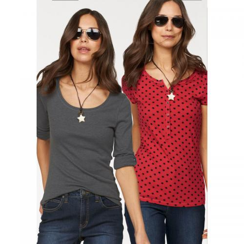 Flashlights - Lot de 2 t-shirts uni + imprimé femme Flashlights - Gris Foncé - Rouge - Flashlights