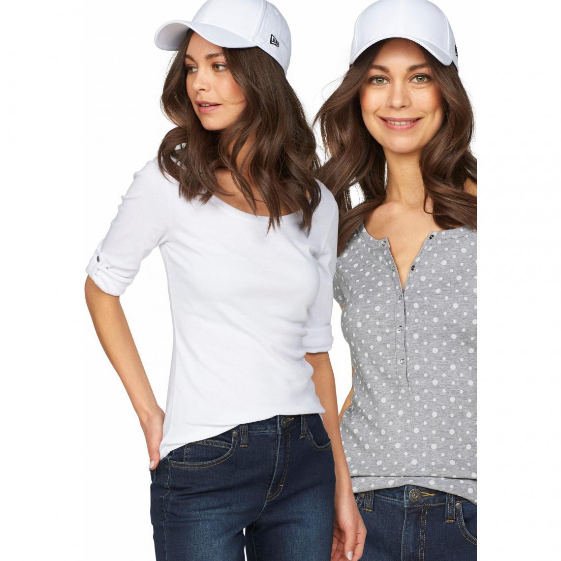 65a18c509b6dd Lot de 2 t-shirts uni + imprimé femme Flashlights - Blanc - Gris Chiné