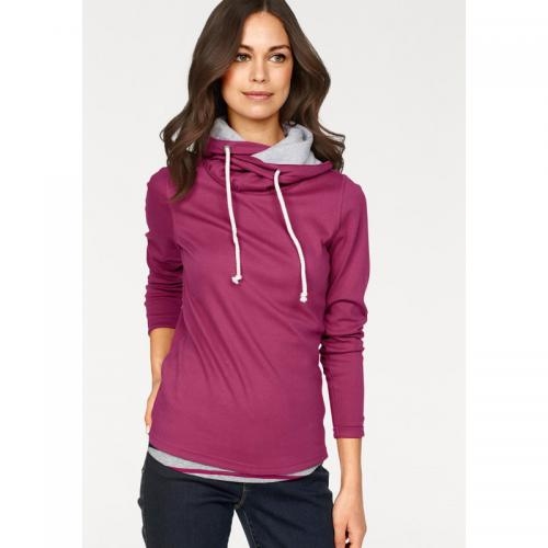Flashlights - Sweat à capuche uni + débardeur rayé femme Flashlights - Bordeaux - Gris - Flashlights