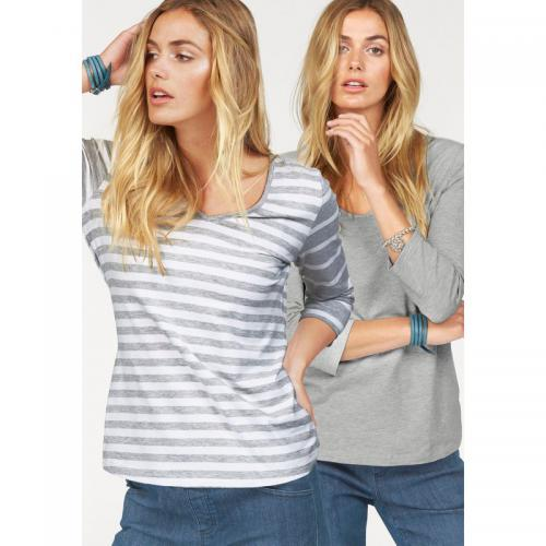 Flashlights - Lot de 2 tee-shirts 1 uni 1 rayé femme FLG - Gris - Blanc - Flashlights