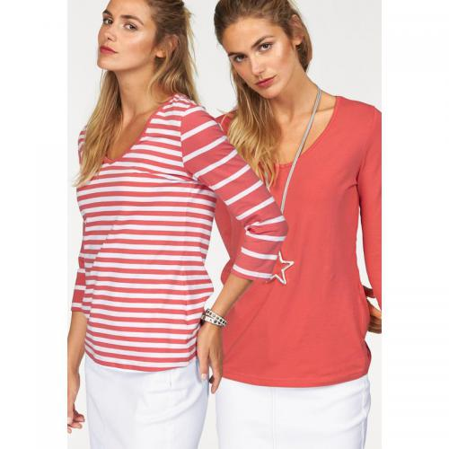 Flashlights - Lot de 2 tee-shirts 1 uni 1 rayé femme FLG - Corail - Blanc - La mode Rose