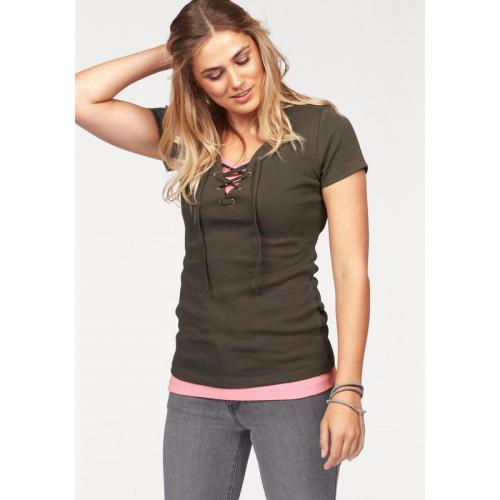 Flashlights - Lot : 1 t-shirt manches courtes + 1 débardeur Flashlights - marron / rose - Promos Femme